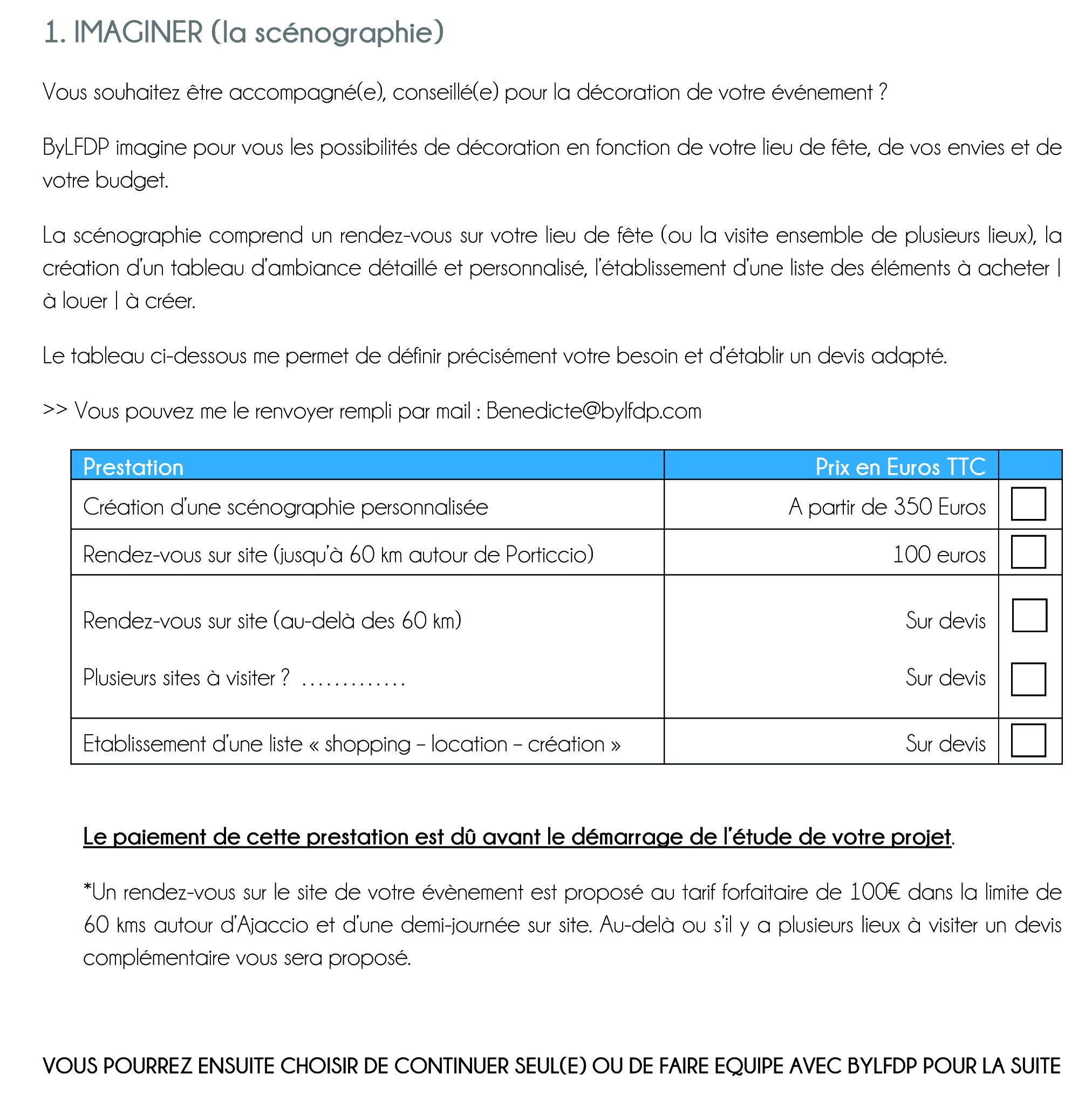 Document à remplir pour un devis PRESTATION COMPLETE DECORATION - IMAGINER - DÉCORATION des jolies fêtes en Corse
