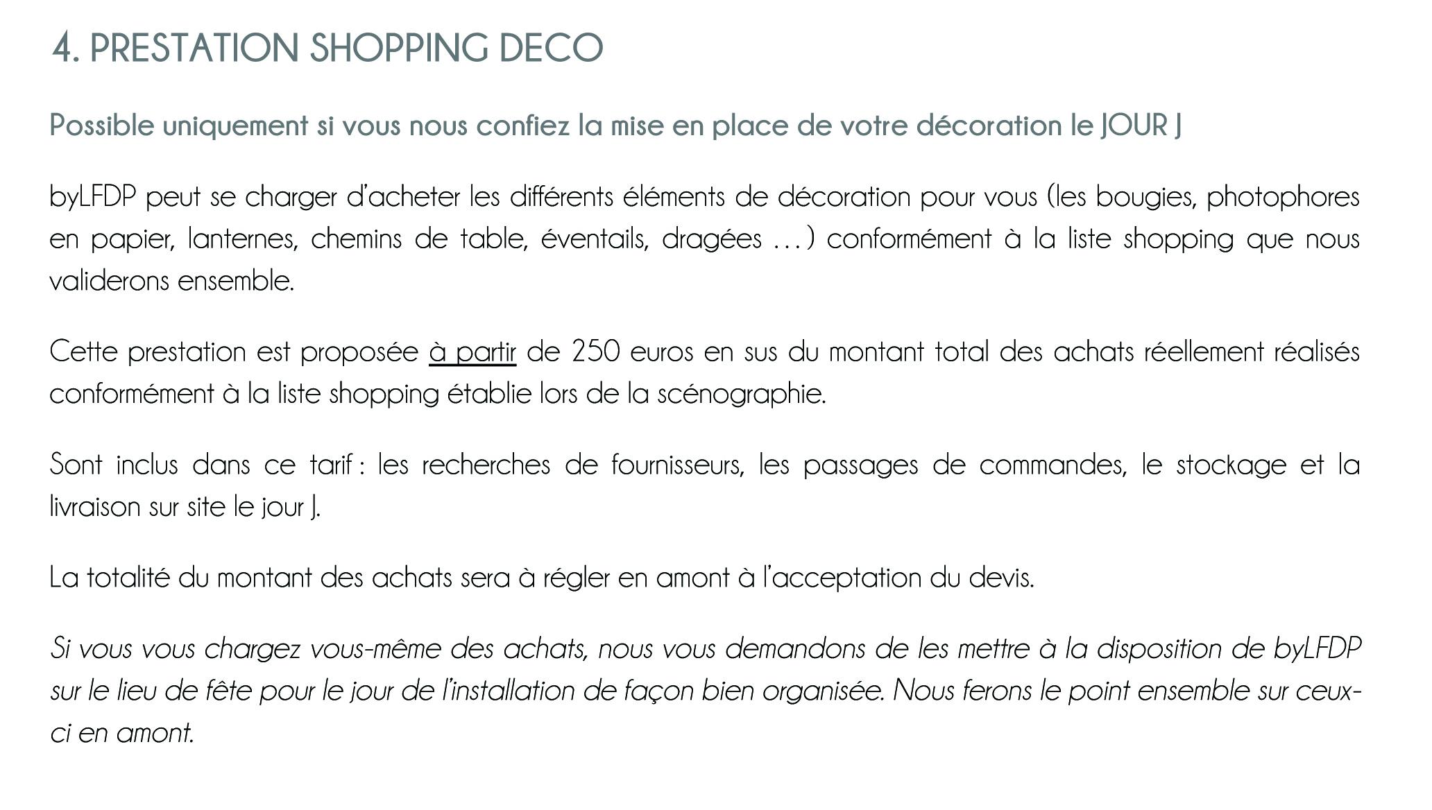 Document à remplir pour un devis PRESTATION SHOPPING - DÉCORATION des jolies fêtes en Corse