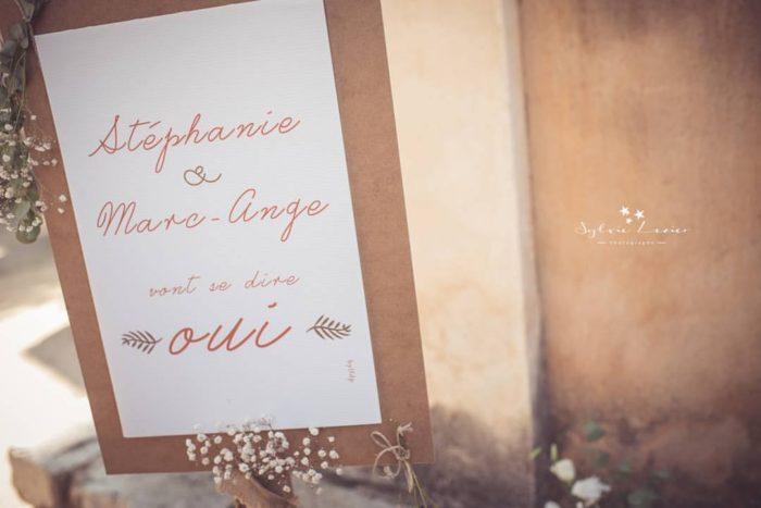 Panneau d'accueil mariage Corse