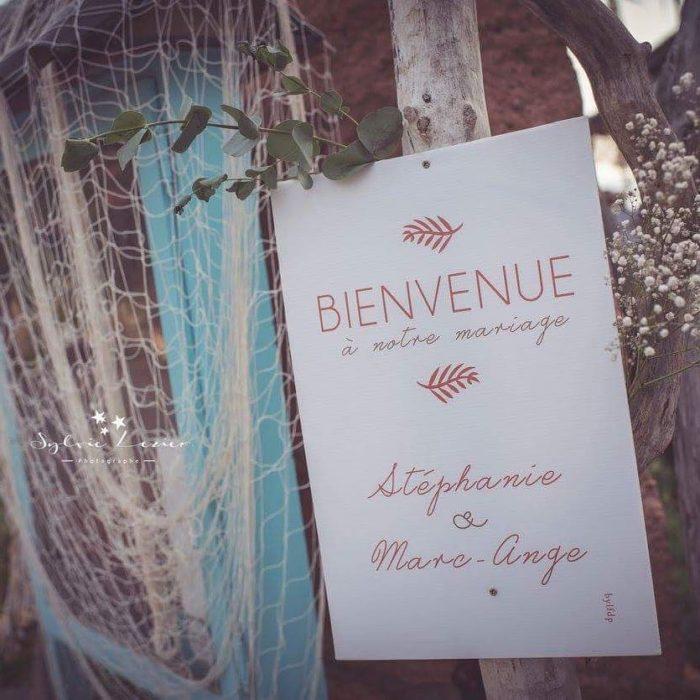 Panneau accueil mariage - Corse - création bylfdp