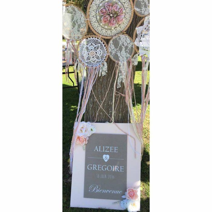 Alizée et Grégoire - mariage - panneau d'accueil création byLFDP