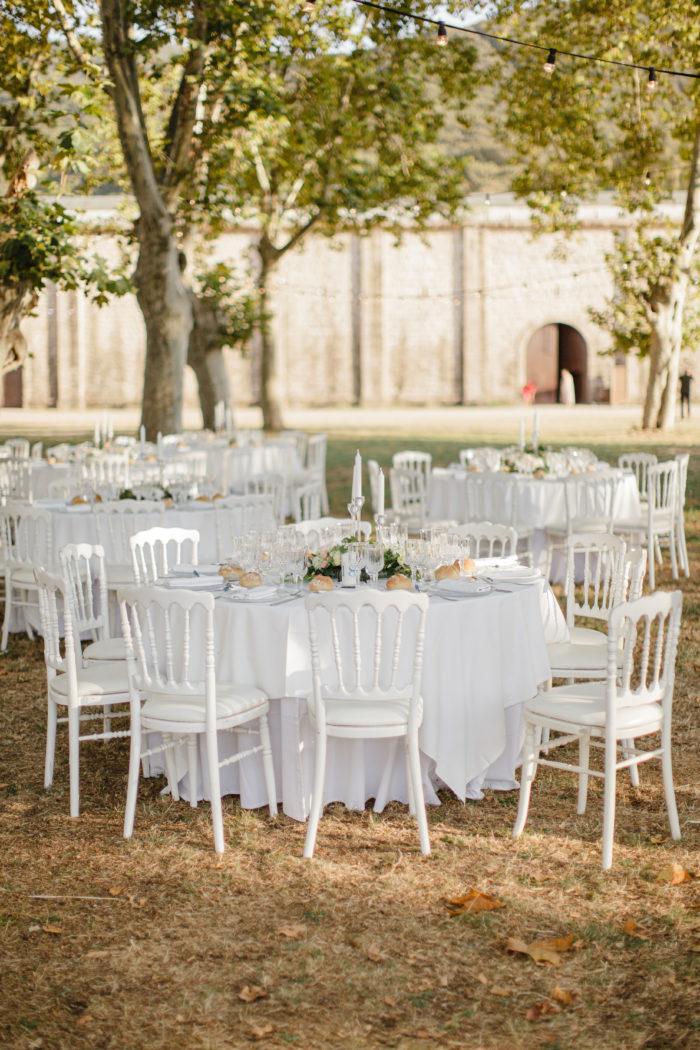 Décoration des tables - mariage Corse