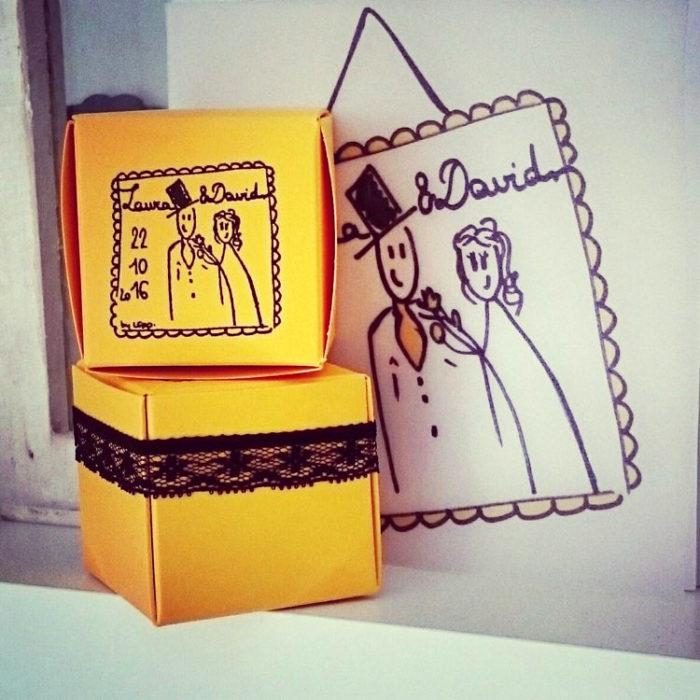 mariage cadeau invités faire-part assortis
